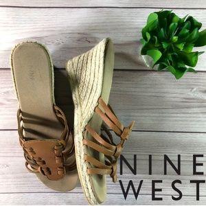 Nine West Wedge Sandals Tan Size 8.5
